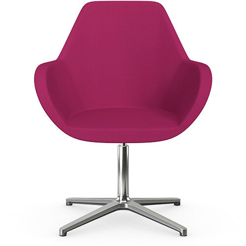 Fan Swivel Armchair with 4 Star Base Pink Sprint Fabric Seat &Polished Aluminium Base - Perfect Seating Solution for Breakout, Reception Areas &Boardroom