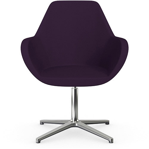Fan Swivel Armchair with 4 Star Base Plum Purple Sprint Fabric Seat &Polished Aluminium Base - Perfect Seating Solution for Breakout, Reception Areas &Boardroom