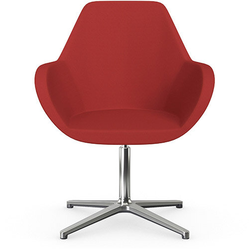 Fan Swivel Armchair with 4 Star Base Classic Red Sprint Fabric Seat &Polished Aluminium Base - Perfect Seating Solution for Breakout, Reception Areas &Boardroom