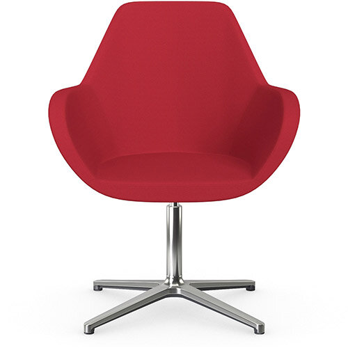Fan Swivel Armchair with 4 Star Base Vivid Red Sprint Fabric Seat &Polished Aluminium Base - Perfect Seating Solution for Breakout, Reception Areas &Boardroom
