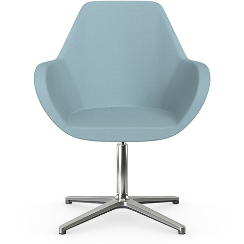 Fan Swivel Armchair with 4 Star Base Light Blue Sprint Fabric Seat &Polished Aluminium Base - Perfect Seating Solution for Breakout, Reception Areas &Boardroom