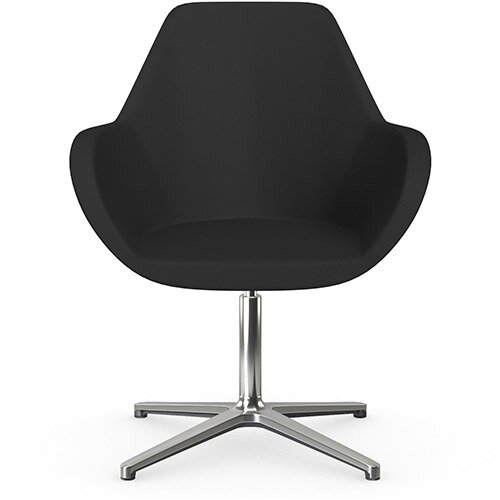 Fan Swivel Armchair with 4 Star Base Black Valencia Leather Look Seat &Polished Aluminium Base - Perfect Seating Solution for Breakout, Reception Areas &Boardroom