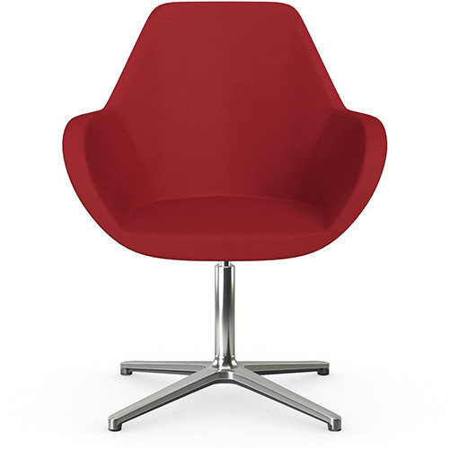 Fan Swivel Armchair with 4 Star Base Red Valencia Leather Look Seat &Polished Aluminium Base - Perfect Seating Solution for Breakout, Reception Areas &Boardroom