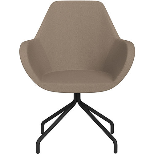 Fan 4 Legged Armchair Beige Evo Fabric Seat &Black Base with Universal Teflon Glides  - Perfect Seating Solution for Breakout, Reception Areas &Boardroom