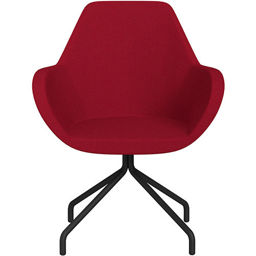 Fan 4 Legged Armchair Red Evo Fabric Seat &Black Base with Universal Teflon Glides  - Perfect Seating Solution for Breakout, Reception Areas &Boardroom