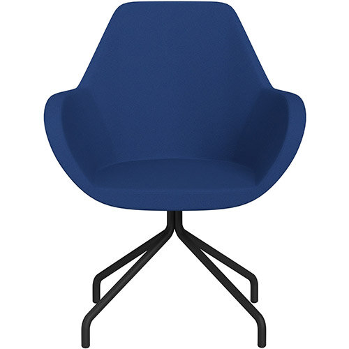 Fan 4 Legged Armchair Blue Evo Fabric Seat &Black Base with Universal Teflon Glides  - Perfect Seating Solution for Breakout, Reception Areas &Boardroom