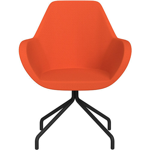 Fan 4 Legged Armchair Orange Sprint Fabric Seat &Black Base with Universal Teflon Glides  - Perfect Seating Solution for Breakout, Reception Areas &Boardroom