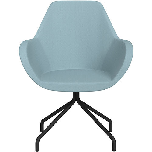 Fan 4 Legged Armchair Light Blue Sprint Fabric Seat &Black Base with Universal Teflon Glides  - Perfect Seating Solution for Breakout, Reception Areas &Boardroom