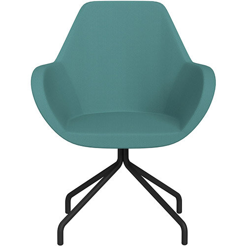 Fan 4 Legged Armchair Muddy Aqua Sprint Fabric Seat &Black Base with Universal Teflon Glides  - Perfect Seating Solution for Breakout, Reception Areas &Boardroom