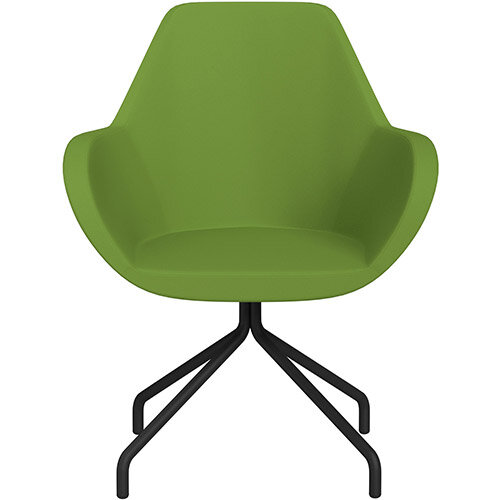 Fan 4 Legged Armchair Green Valencia Leather Look Seat &Black Base with Universal Teflon Glides  - Perfect Seating Solution for Breakout, Reception Areas &Boardroom