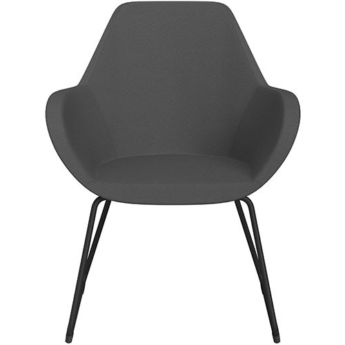 Fan Armchair with Cantilever Legs Dark Grey Evo Fabric Seat &Black Base with Felt Glides for Hard Floors - Perfect Seating Solution for Breakout, Reception Areas &Boardroom