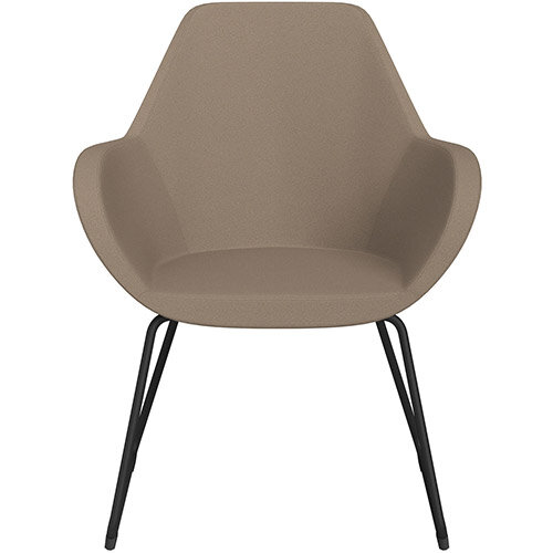 Fan Armchair with Cantilever Legs Beige Evo Fabric Seat &Black Base with Felt Glides for Hard Floors - Perfect Seating Solution for Breakout, Reception Areas &Boardroom