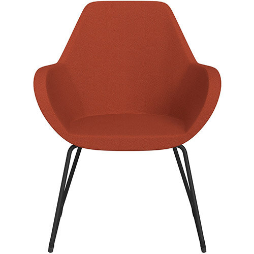 Fan Armchair with Cantilever Legs Dark Orange Evo Fabric Seat &Black Base with Felt Glides for Hard Floors - Perfect Seating Solution for Breakout, Reception Areas &Boardroom