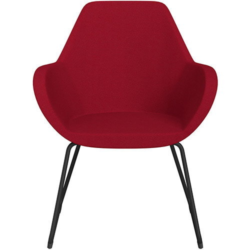 Fan Armchair with Cantilever Legs Red Evo Fabric Seat &Black Base with Felt Glides for Hard Floors - Perfect Seating Solution for Breakout, Reception Areas &Boardroom