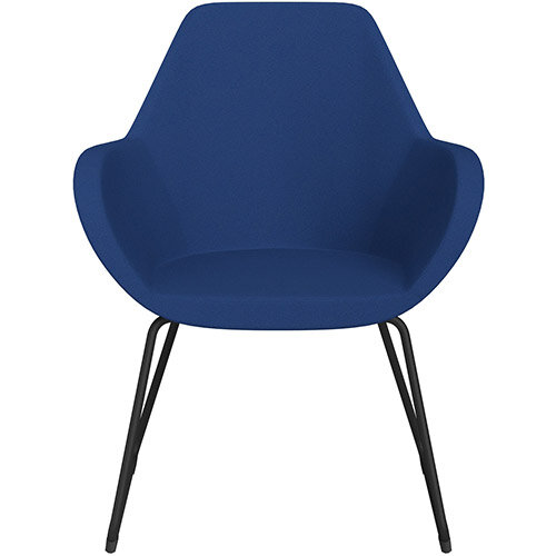 Fan Armchair with Cantilever Legs Blue Evo Fabric Seat &Black Base with Felt Glides for Hard Floors - Perfect Seating Solution for Breakout, Reception Areas &Boardroom