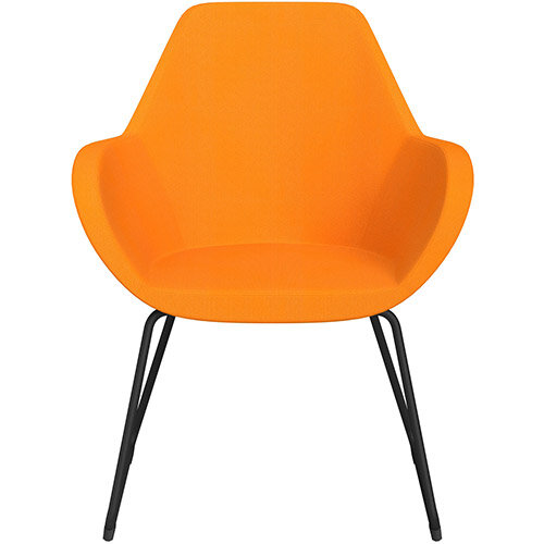 Fan Armchair with Cantilever Legs Yellow Sprint Fabric Seat &Black Base with Felt Glides for Hard Floors - Perfect Seating Solution for Breakout, Reception Areas &Boardroom
