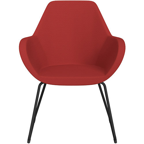 Fan Armchair with Cantilever Legs Classic Red Sprint Fabric Seat &Black Base with Felt Glides for Hard Floors - Perfect Seating Solution for Breakout, Reception Areas &Boardroom