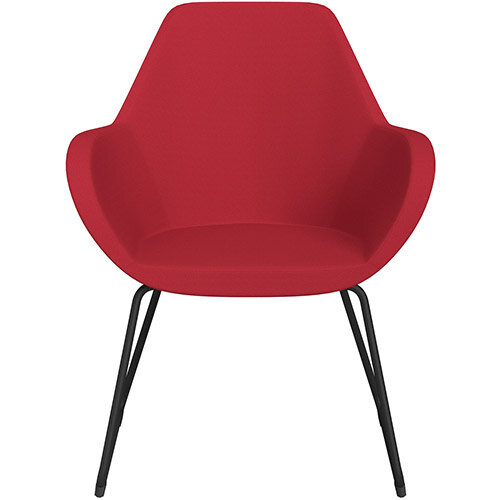 Fan Armchair with Cantilever Legs Vivid Red Sprint Fabric Seat &Black Base with Felt Glides for Hard Floors - Perfect Seating Solution for Breakout, Reception Areas &Boardroom