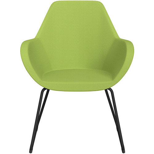 Fan Armchair with Cantilever Legs Light Green Sprint Fabric Seat &Black Base with Felt Glides for Hard Floors - Perfect Seating Solution for Breakout, Reception Areas &Boardroom