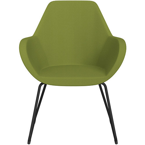Fan Armchair with Cantilever Legs Olive Green Sprint Fabric Seat &Black Base with Felt Glides for Hard Floors - Perfect Seating Solution for Breakout, Reception Areas &Boardroom