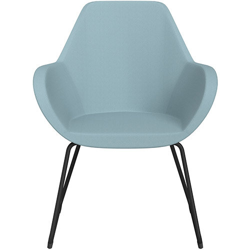 Fan Armchair with Cantilever Legs Light Blue Sprint Fabric Seat &Black Base with Felt Glides for Hard Floors - Perfect Seating Solution for Breakout, Reception Areas &Boardroom