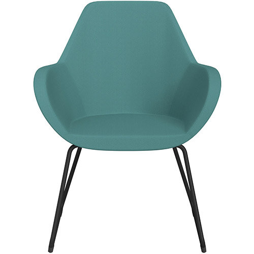 Fan Armchair with Cantilever Legs Muddy Aqua Sprint Fabric Seat &Black Base with Felt Glides for Hard Floors - Perfect Seating Solution for Breakout, Reception Areas &Boardroom