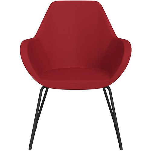 Fan Armchair with Cantilever Legs Red Valencia Leather Look Seat &Black Base with Felt Glides for Hard Floors - Perfect Seating Solution for Breakout, Reception Areas &Boardroom