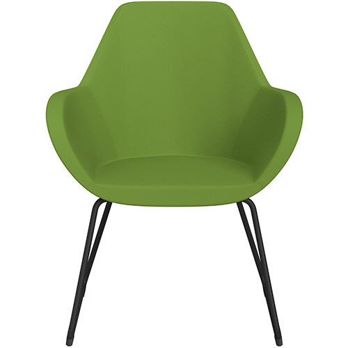 Fan Armchair with Cantilever Legs Green Valencia Leather Look Seat &Black Base with Felt Glides for Hard Floors - Perfect Seating Solution for Breakout, Reception Areas &Boardroom