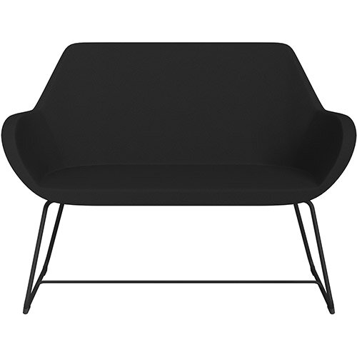 Fan 2 Seater Sofa with Cantilever Legs Black Evo Fabric Seat &Black Base with Glides for Soft Floors  - Perfect Seating Solution for Breakout &Reception Areas