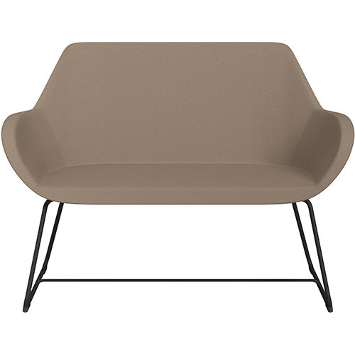 Fan 2 Seater Sofa with Cantilever Legs Beige Evo Fabric Seat &Black Base with Glides for Soft Floors  - Perfect Seating Solution for Breakout &Reception Areas