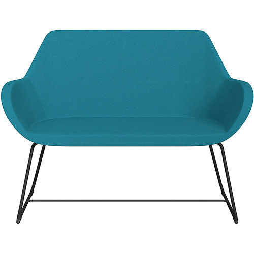 Fan 2 Seater Sofa with Cantilever Legs Aquamarine Evo Fabric Seat &Black Base with Felt Glides for Hard Floors - Perfect Seating Solution for Breakout &Reception Areas