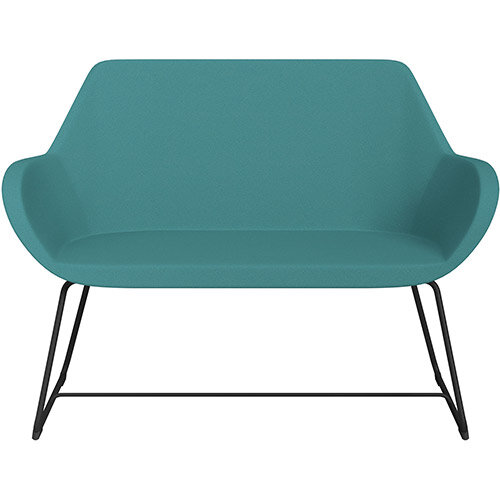 Fan 2 Seater Sofa with Cantilever Legs Aqua Green Evo Fabric Seat &Black Base with Felt Glides for Hard Floors - Perfect Seating Solution for Breakout &Reception Areas