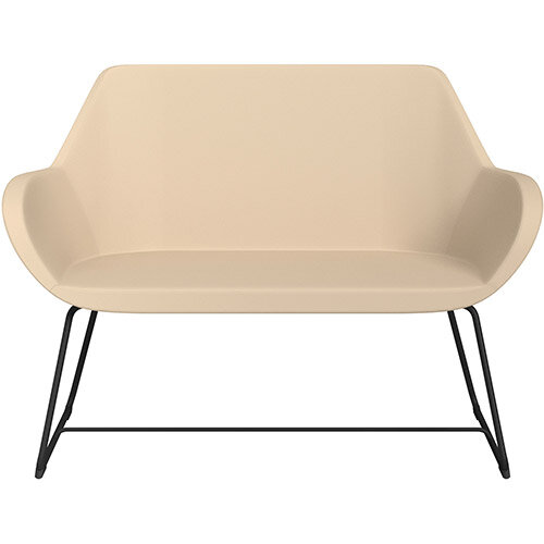 Fan 2 Seater Sofa with Cantilever Legs Beige Softline Leather Look Seat &Black Base with Glides for Soft Floors  - Perfect Seating Solution for Breakout &Reception Areas
