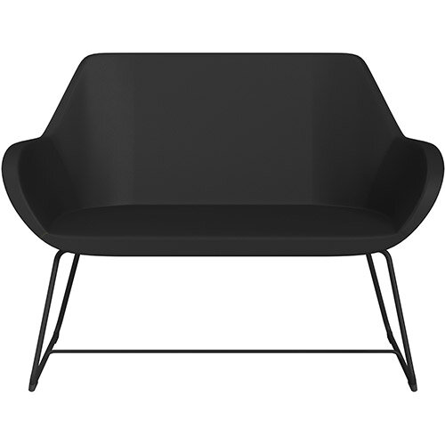Fan 2 Seater Sofa with Cantilever Legs Black Softline Leather Look Seat &Black Base with Glides for Soft Floors  - Perfect Seating Solution for Breakout &Reception Areas