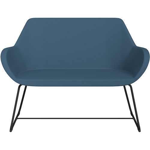 Fan 2 Seater Sofa with Cantilever Legs Aqua Blue Valencia Leather Look Seat &Black Base with Glides for Soft Floors  - Perfect Seating Solution for Breakout &Reception Areas