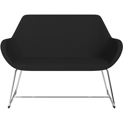 Fan 2 Seater Sofa with Cantilever Legs Black Evo Fabric Seat &Chrome Base with Felt Glides for Hard Floors - Perfect Seating Solution for Breakout &Reception Areas