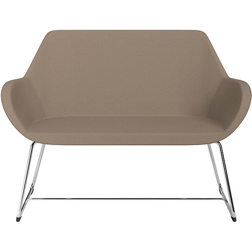 Fan 2 Seater Sofa with Cantilever Legs Beige Evo Fabric Seat &Chrome Base with Felt Glides for Hard Floors - Perfect Seating Solution for Breakout &Reception Areas