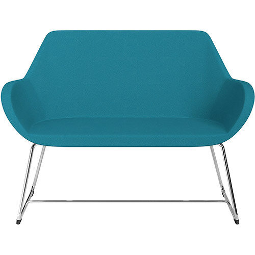 Fan 2 Seater Sofa with Cantilever Legs Aquamarine Evo Fabric Seat &Chrome Base with Glides for Soft Floors  - Perfect Seating Solution for Breakout &Reception Areas
