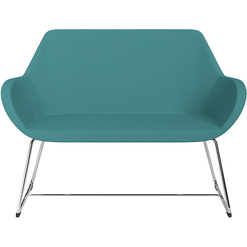 Fan 2 Seater Sofa with Cantilever Legs Aqua Green Evo Fabric Seat &Chrome Base with Felt Glides for Hard Floors - Perfect Seating Solution for Breakout &Reception Areas