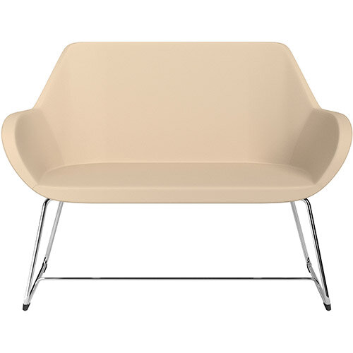 Fan 2 Seater Sofa with Cantilever Legs Beige Softline Leather Look Seat &Chrome Base with Glides for Soft Floors  - Perfect Seating Solution for Breakout &Reception Areas