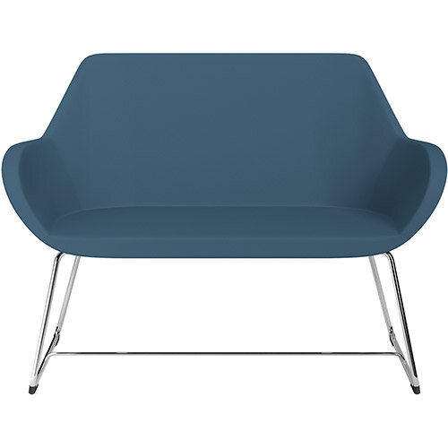 Fan 2 Seater Sofa with Cantilever Legs Aqua Blue Valencia Leather Look Seat &Chrome Base with Glides for Soft Floors  - Perfect Seating Solution for Breakout &Reception Areas