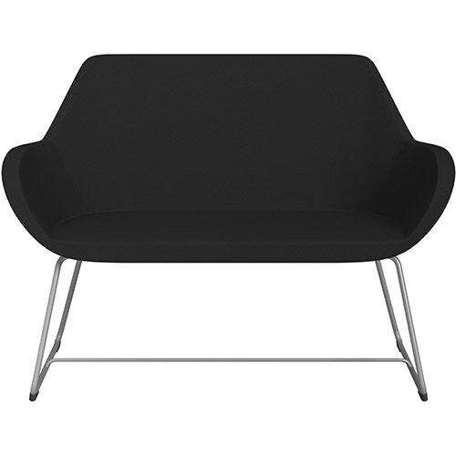 Fan 2 Seater Sofa with Cantilever Legs Black Evo Fabric Seat &Metallic Silver Base with Glides for Soft Floors  - Perfect Seating Solution for Breakout &Reception Areas