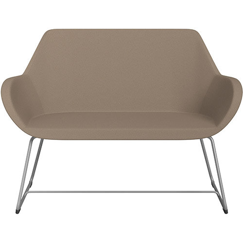 Fan 2 Seater Sofa with Cantilever Legs Beige Evo Fabric Seat &Metallic Silver Base with Felt Glides for Hard Floors - Perfect Seating Solution for Breakout &Reception Areas