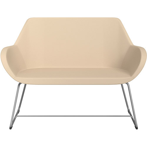Fan 2 Seater Sofa with Cantilever Legs Beige Softline Leather Look Seat &Metallic Silver Base with Glides for Soft Floors  - Perfect Seating Solution for Breakout &Reception Areas