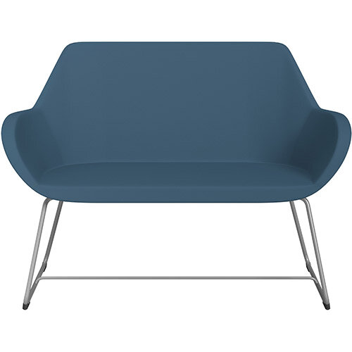 Fan 2 Seater Sofa with Cantilever Legs Aqua Blue Valencia Leather Look Seat &Metallic Silver Base with Felt Glides for Hard Floors - Perfect Seating Solution for Breakout &Reception Areas