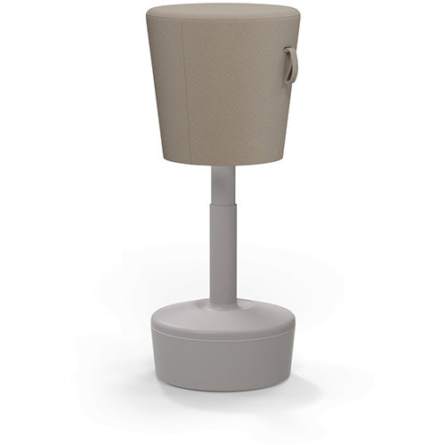 Mickey Ergonomic Height Adjustable Sit Stand Stool - Pouffe with Beige Fabric Seat &Plastic Beige Base &Frame - Seat Adjusts from 570-900m with Swivel &Tilt Function Perfect for use with Sit Stand Desks