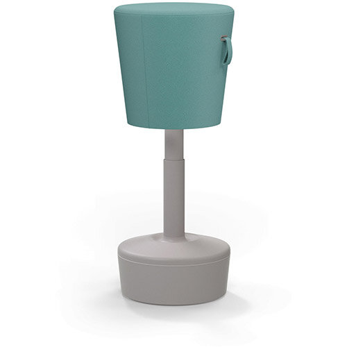 Mickey Ergonomic Height Adjustable Sit Stand Stool - Pouffe with Aqua Green Fabric Seat &Plastic Beige Base &Frame - Seat Adjusts from 570-900m with Swivel &Tilt Function Perfect for use with Sit Stand Desks