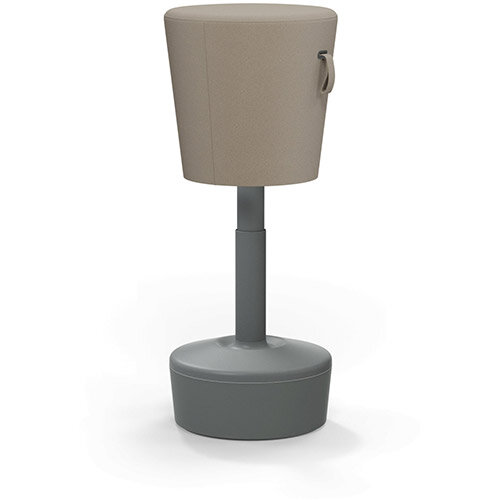 Mickey Ergonomic Height Adjustable Sit Stand Stool - Pouffe with Beige Fabric Seat &Plastic Grey Base &Frame - Seat Adjusts from 570-900m with Swivel &Tilt Function Perfect for use with Sit Stand Desks