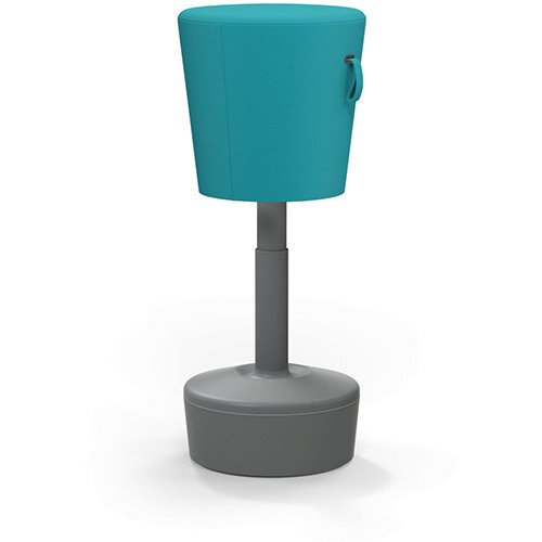 Mickey Ergonomic Height Adjustable Sit Stand Stool - Pouffe with Aquamarine Fabric Seat &Plastic Grey Base &Frame - Seat Adjusts from 570-900m with Swivel &Tilt Function Perfect for use with Sit Stand Desks