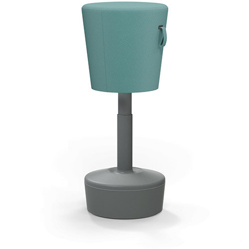 Mickey Ergonomic Height Adjustable Sit Stand Stool - Pouffe with Aqua Green Fabric Seat &Plastic Grey Base &Frame - Seat Adjusts from 570-900m with Swivel &Tilt Function Perfect for use with Sit Stand Desks
